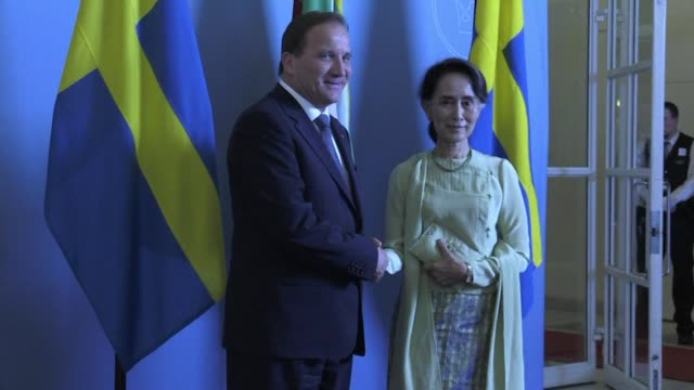 Myanmar's de facto leader Aung San Suu Kyi and Swedish Prime Minister Stefan Lofven hold a joint press conference in Stockholm