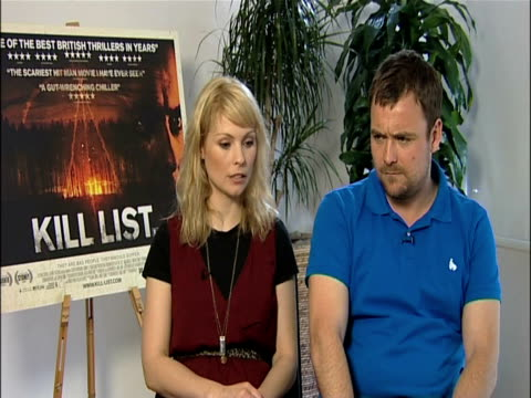 myanna buring and neil maskell on the back stories in the movie at the kill list - interviews at london england. - myanna buring stock videos & royalty-free footage