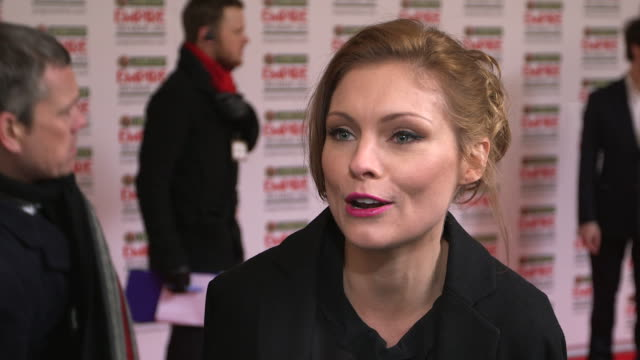 myanna buring on being at the awards, who she is looking forward to seeing at the jameson empire awards - arrivals at grosvenor house, on march 24,... - myanna buring stock videos & royalty-free footage
