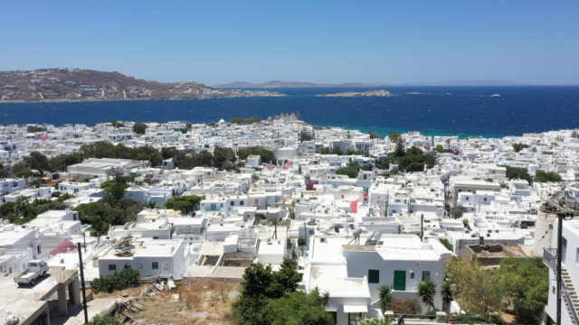 mykonos town panorama, mykonos island, greece - mykonos stock videos & royalty-free footage
