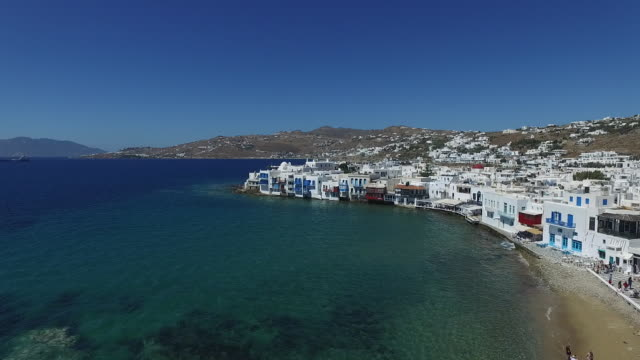 mykonos viewed from the air - mykonos stock videos & royalty-free footage