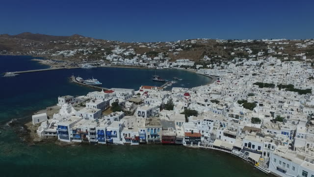 mykonos viewed from the air - mykonos stock videos and b-roll footage