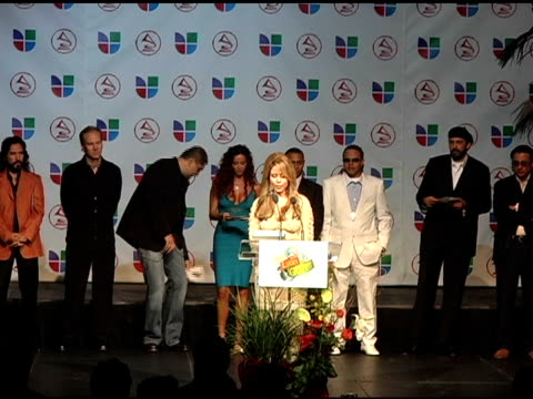 myrka dellanos announces latin grammy nominees at the 2005 latin grammy awards nominations at the music box theater in hollywood, california on... - latin grammy awards stock videos & royalty-free footage