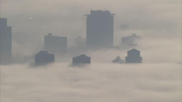mysterious fog captured on 13th november 2014 - saitama city stock videos & royalty-free footage