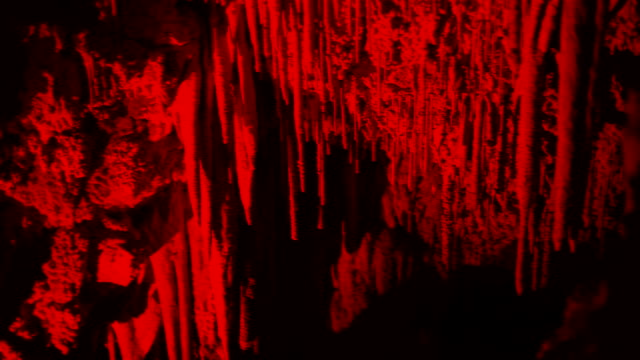 Mysterious red stalactite cave