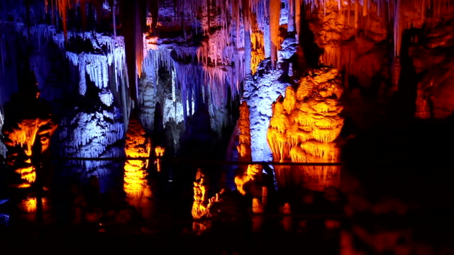 mysterious stalactite cave - stalagmite stock videos and b-roll footage