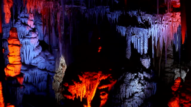 mysterious stalactite cave - crystals stock videos and b-roll footage
