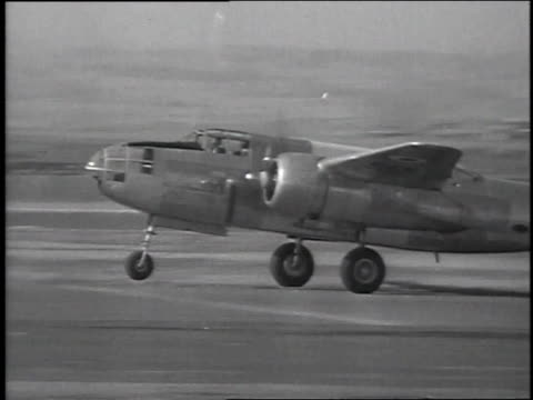 mystery bomber b26 martin marauder flying / inglewood california united states - explosive stock videos & royalty-free footage
