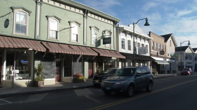 mystic, connecticut - mom & pop stores on main street - small town stock videos & royalty-free footage