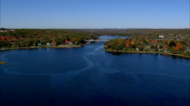 mystic river - aerial view - connecticut,  new london county,  united states - new london county connecticut stock videos & royalty-free footage