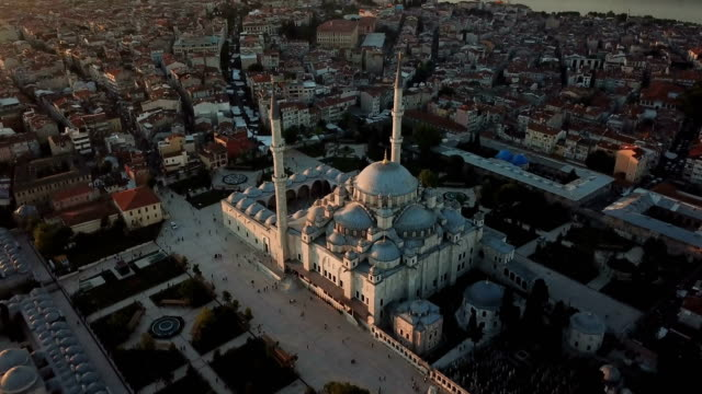 mystique fatih mosque from the sky, aerial view of istanbul city, golden horn, turkey - istanbul stock videos & royalty-free footage