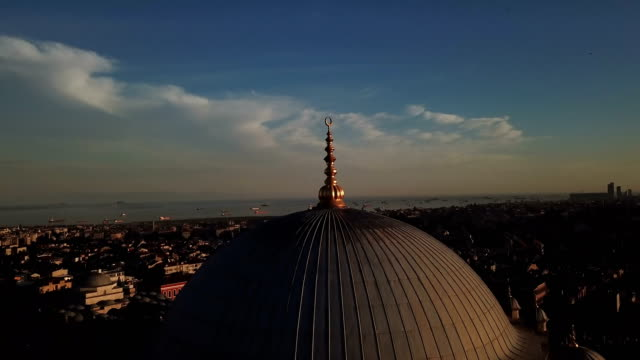 mystique fatih mosque from the sky, aerial view of istanbul city, golden horn, turkey - short phrase stock videos and b-roll footage