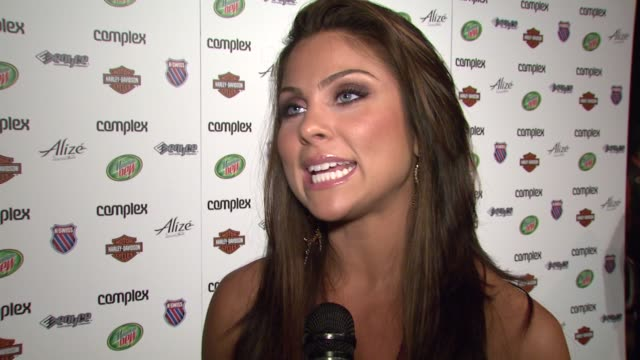 nadia bjorlin on what she's wearing her favorite designers being at the event complex magazine and her new movie at the 5th anniversary of complex... - nadia bjorlin stock videos & royalty-free footage