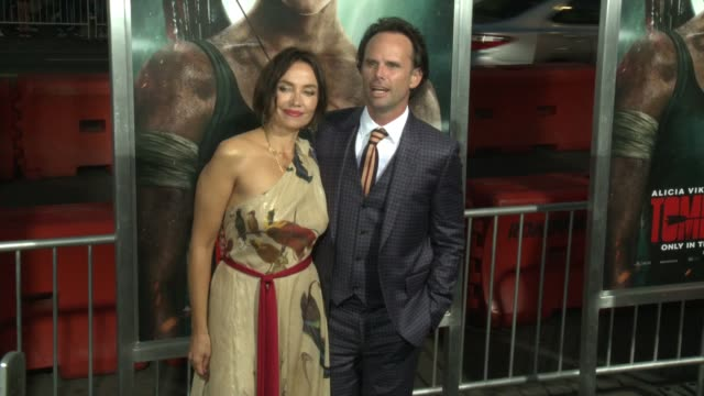 Nadia Conners and Walton Goggins at the 'Tomb Raider' Premiere at TCL Chinese Theatre on March 12 2018 in Hollywood California