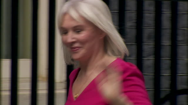 """nadine dorries arriving at 10 downing street for cabinet reshuffle, where she was appointed secretary of state for culture, media and sport - """"bbc news"""" stock videos & royalty-free footage"""
