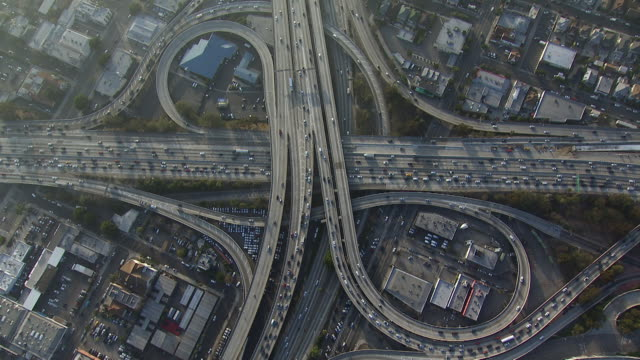 Nadir shot of Los Angeles Interchange. The 10 and the 110 intersect here in a partial-cloverleaf stack interchange.