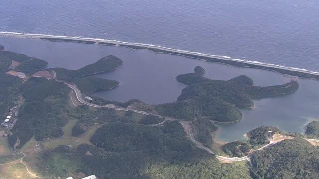 vídeos de stock e filmes b-roll de aerial, nagamenohama, koshikishima islands, kagoshima, japan - banco de areia