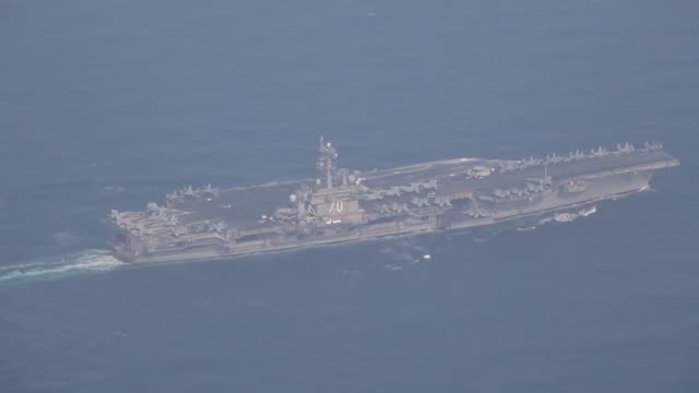 nagasaki, japan, -april 29: the u.s. aircraft carrier carl vinson sailed into the sea of japan on saturday en route to waters near the korean... - us navy stock videos & royalty-free footage