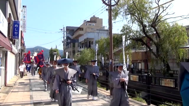 """nagasaki prefecture--tensions between japan and south korea may be at a fever pitch, but that didn't stop a colorful procession of """"korean envoys""""... - indigenous culture stock videos & royalty-free footage"""