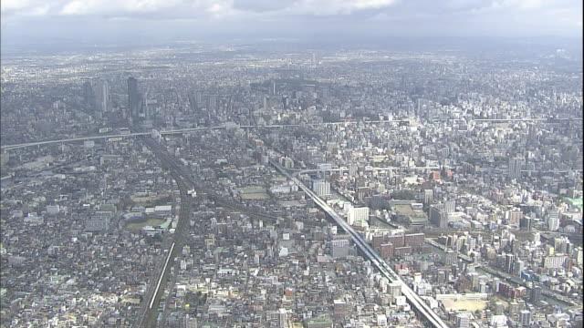 Nagoya city spreads across the landscape in Japan.