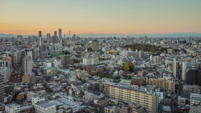 Nagoya cityscape with beautiful sky in sunset evening time, japan