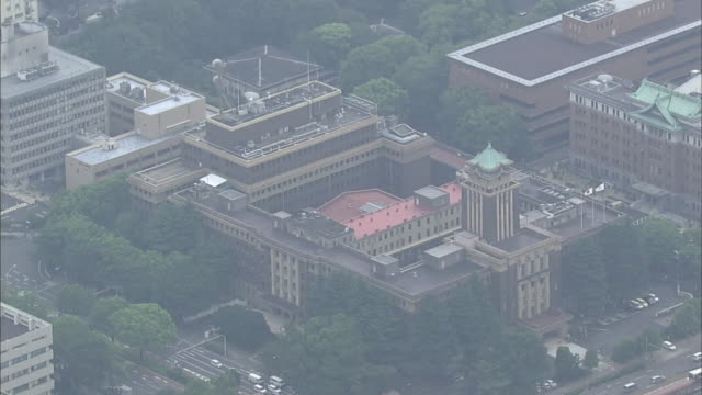 Nagoya's central business district surrounds its city hall building.