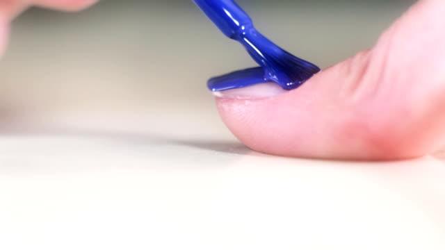 HD: Nail Polish on Long Woman Nails - Blue