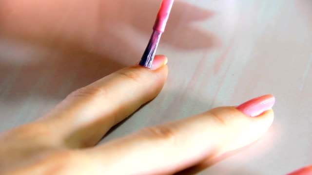 HD: Nail Polish on Long Woman Nails - pink