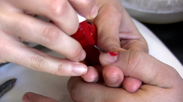 nail polish - red nail polish stock videos and b-roll footage