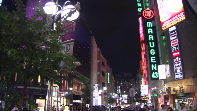 Nakasu Bustle of the amusement district invites people with Neons