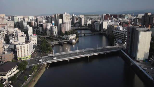 aerial, nakasu district in hakata, fukuoka, japan - 福岡県点の映像素材/bロール