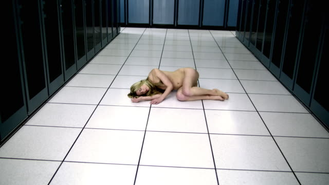 ws cs naked woman sleeping on floor in server room - see other clips from this shoot 1480 stock videos and b-roll footage