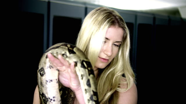 cu ds naked woman with snake in server room - see other clips from this shoot 1480 stock videos and b-roll footage