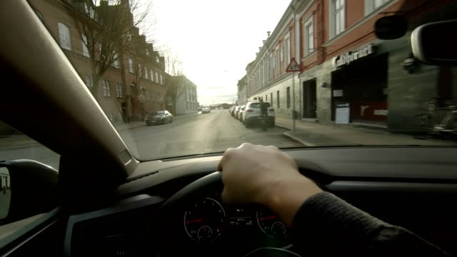 nakskov lolland pov person vehicle day driving inside car dashboard - land vehicle stock videos & royalty-free footage