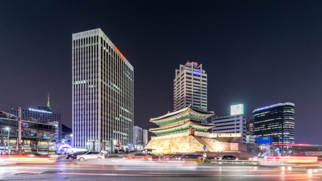 t/l ws la namdaemun gate and modern skyscrapers / seoul, south korea - korea stock videos & royalty-free footage