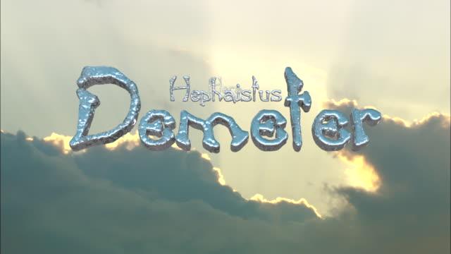 vidéos et rushes de ms names of ancient greek gods (dodekatheon) moving away on cloudy backdrop - dieu