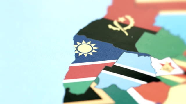 Namibia Borders with National Flag on World Map