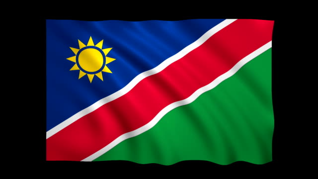 namibia flag loopable alpha included - stock video - satin stock videos & royalty-free footage