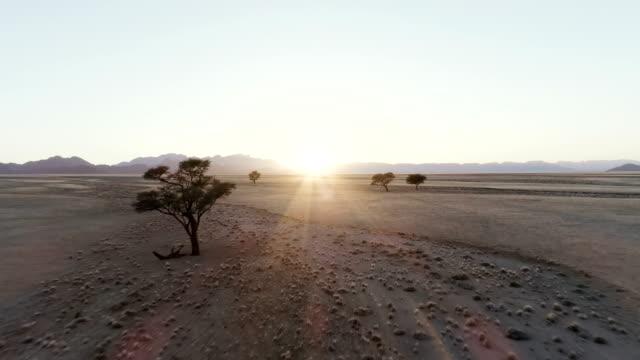 Namibian desert during sunset. Aerial view