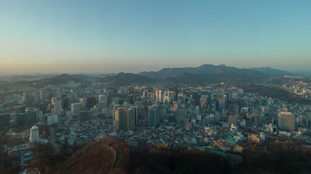 namsan tower day to night time-lapse 4k - south korea stock videos and b-roll footage