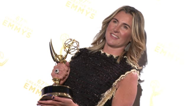 nancy dubuc at the 2015 creative arts emmy awards at microsoft theater on september 12 2015 in los angeles california - emmy awards stock-videos und b-roll-filmmaterial