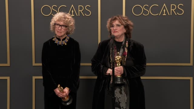 """nancy haigh, barbara ling of """"once upon a time in hollywood"""" at the 92nd annual academy awards - press room at dolby theatre on february 09, 2020 in... - the dolby theatre stock videos & royalty-free footage"""