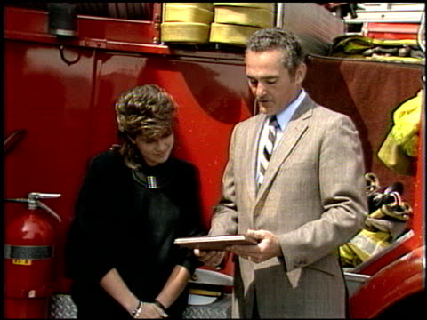 nancy mckeon at the nancy mckeon la county fire at fire station in los angeles california on september 1 1986 - fire station stock videos & royalty-free footage