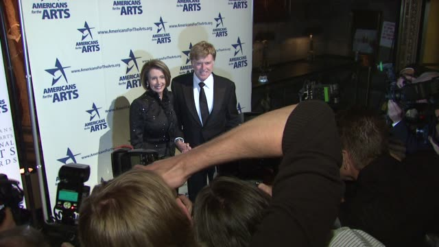 nancy pelosi and robert redford at the 2009 national arts awards at new york ny - nancy pelosi stock videos and b-roll footage