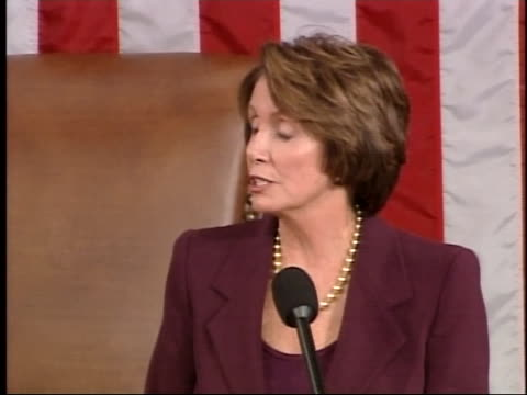 vídeos y material grabado en eventos de stock de nancy pelosi, in her first speech as speaker of the house, outlines her plans for congress. - (war or terrorism or election or government or illness or news event or speech or politics or politician or conflict or military or extreme weather or business or economy) and not usa