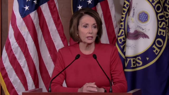 nancy pelosi minority leader of the democrats in the us house of representatives holds a press conference she starts off by addressing the us... - nancy pelosi stock videos and b-roll footage
