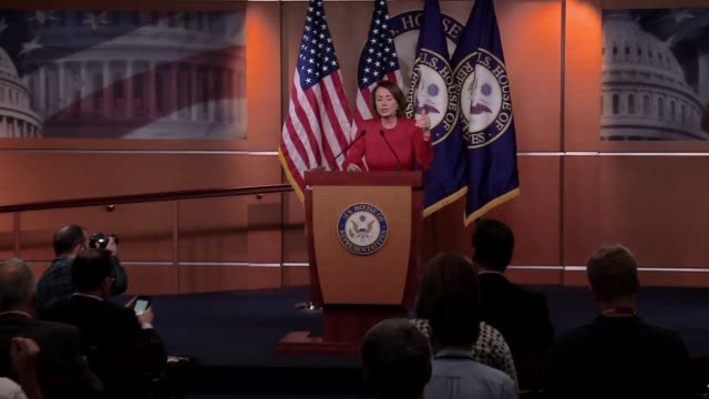 Nancy Pelosi minority leader of the Democrats in the US House of Representatives holds a press conference She says Donald Trump will NEVER be...