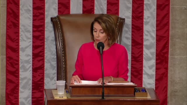 nancy pelosi of california says on opening day of the 116th congress after her reelection as speaker to face the next essential threat of climate... - politician stock videos & royalty-free footage