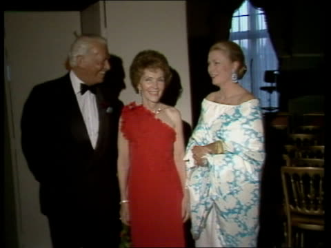 london us ambassador's residence nancy reagan and ambassador john j louis jnr and wife zoom in princess alexandra and angus ogilvy greet bv lord... - dinner lady stock videos & royalty-free footage