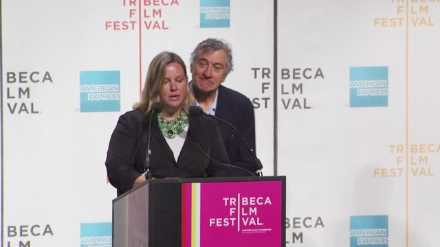 nancy schafer talks about how the festival is handling international filmmakers who may not be able to attend. at the tribeca film festival opening... - tribeca festival stock videos & royalty-free footage